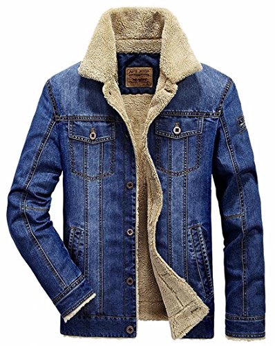 Warm Jacket Casual Blue Denim Coats Denim Men's Quilted uk Fly Down Jeans Year Button qZxAgn8w