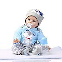Decdeal 22inch Reborn Toddler Baby Doll Boy Silicone Body Blue Eyes Lifelike Cute Gifts Toy