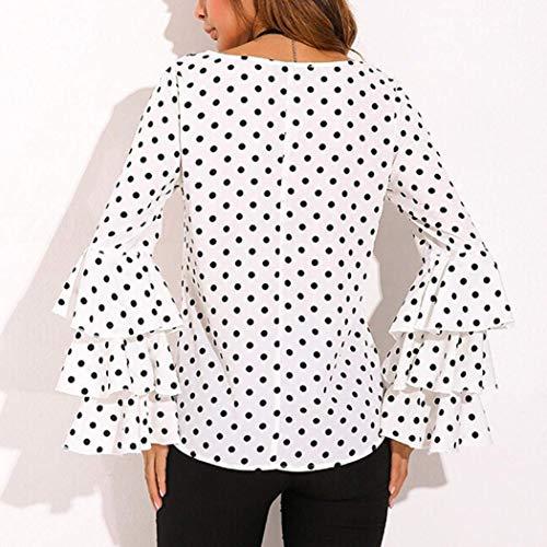 Confortable Elgante Dots Col Mode Blouse Femme Loisir Manches Trompette Jeune Printemps Longues Rond Blanc Haut Chemise Manches Chemise breal Polka Outdoor Blouse Mode dU87xq8H