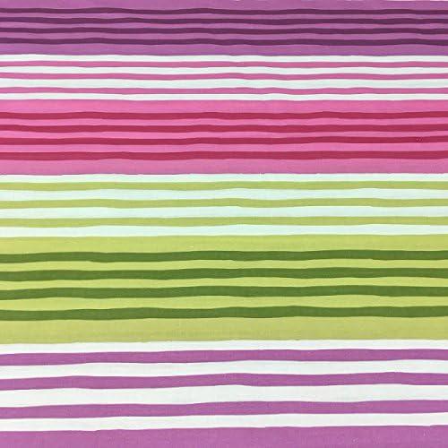 Tela por metros de sábana estampada - Algodón y poliéster - Ancho 270 cm - Confeccionar ropa de cama, decoración, manualidades | Rayas horizontales, rosa: Amazon.es: Hogar