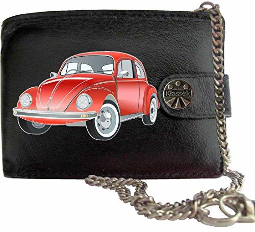 VW Käfer Rot Bettle Auto Klassek Herren Geldbörse Geldbeutel Portemonnaie mit Kette Volkswagen Zubehör Geschenk