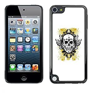 Planetar® ( Yellow Gold Biker Ink Tattoo Skull ) Apple iPod Touch 5 Fundas Cover Cubre Hard Case Cover