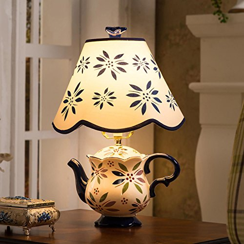 Creative Ceramic Table Lamp Teapot Shape with Fabric Shade for Bedroom Living Room Decoration, Blue ()