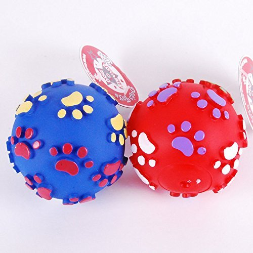 Dogloveit Rubber Color Pawprint Ball Squeaky Toy for Pet Puppy Dog Cat, 4