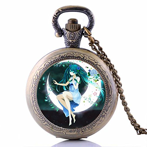 - Vintage Anime Girl on the Moon Pocket Watch-Bronze Plated Pendant Necklace-Wearable Art Pocket Watch-Handmade Necklace Jewelry For Women Men Kids Gifts