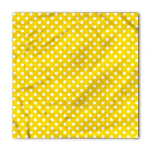 Lunarable Unisex Bandana, Yellow Polka Dots Traditional Motif, Yellow White