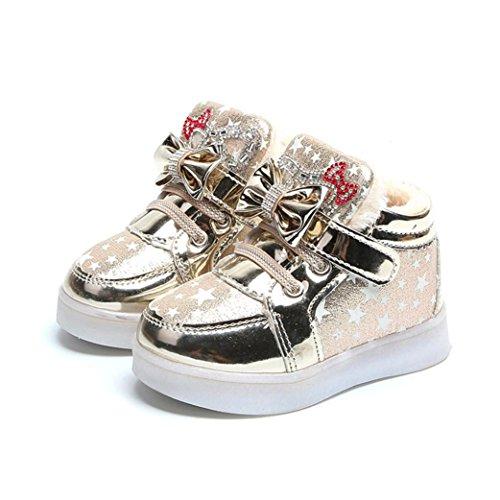 JIANGFU Kinder leichte Schuhe und dicke Baumwolle, Kleinkind-Baby-Art- und Weisesnowers-Stern-leuchtendes Kind-zufällige bunte helle Schuhe Gold