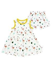 Babysoy 100% Organic Cotton Flamingo Pattern Dress with Bloomer