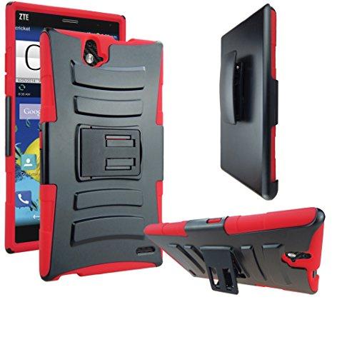 ZTE Grand X Max Case, ATUS® ZTE Grand X Max Z787 / ZTE Grand X Max+ Z987 Armor Shock Proof Heavy Duty Stand Cases with Swivel Belt Clip Cover + Free Ultra-sensitive Stylus Pen (Black/Red)