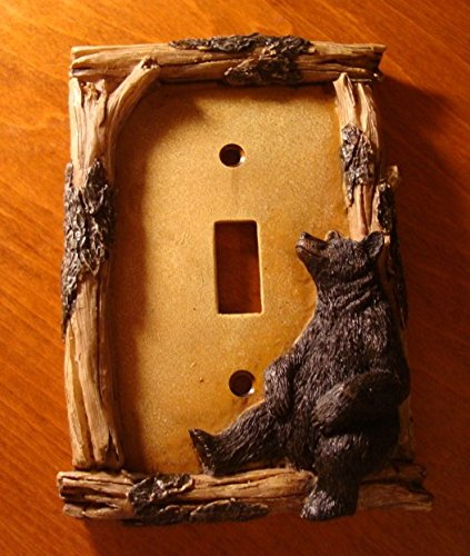 (Black Bear Single Toggle Light Switch Plate Switchplate Cabin Wall Cover)