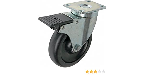 400-lb Load Capacity Shepherd Hardware 9011 400 Series 5-Inch Tool Box Swivel Plate Caster with Brake