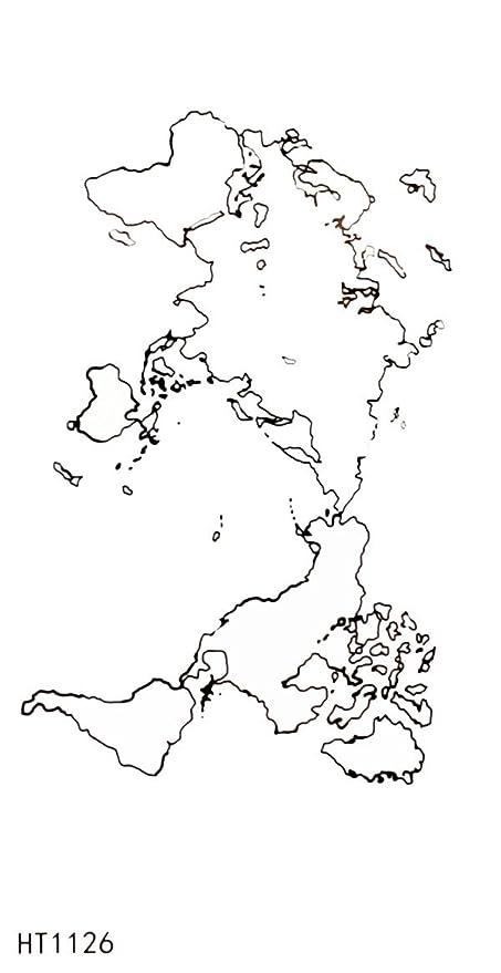 Temporal Cuerpo Tatuajes de vinilo adhesivo mapa del mundo: Amazon ...