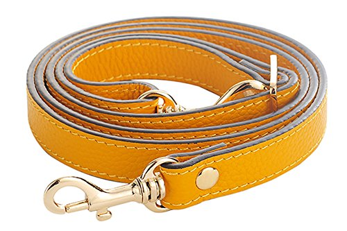 Orange Leather Strap - SeptCity Top Quality Grain Leather Adjustable Shoulder Straps -1.8 CM Width(20 Color)(Yellow)