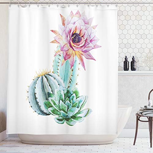(Ambesonne Cactus Decor Shower Curtain, Cactus Spikes Flower in Hot Mexican Desert Sand Botanic Natural Image, Fabric Bathroom Decor Set with Hooks, 84 Inches Extra Long, Pink Green)