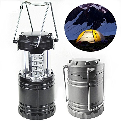 Besplore Portable Outdoor LED Camping Lantern Flashlights with 6 AA Batteries - Survival Kit for Emergency, Hurricane, Storm, Outage (Black, Collapsible) (Glossy) -2pcs