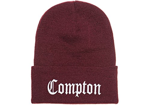 3D Embroidered Compton Warm Knit Beanie Cap By FlexFit Yupoong (Maroom)