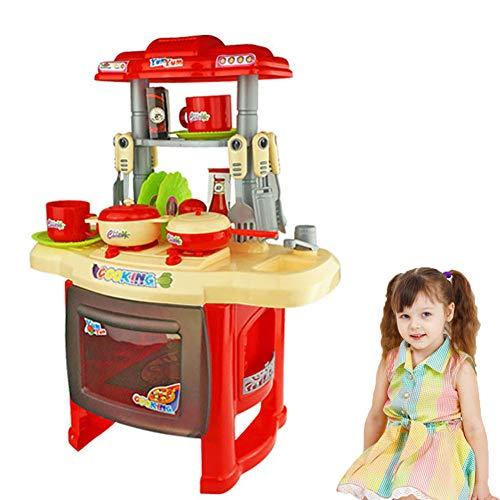 WDXIN Juguete de casa Juegos niños Educativo Combinación de Mesa de Comedor El cinturón Luz Cocinar Jugar a la casa de...