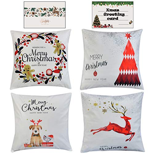 HAYZUSZ Christmas Throw Pillow Covers 18x18 Inch Set of 4 Super-Soft Velour Xmas Decorative Square Cushion Pillows Covers for Couch Sofa Bed with Invisible with Zipper Gift of Xmas Greeting Card