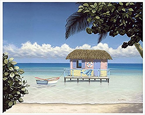 Buyartforless Framed Island Hut - with Rowboat by Daniel Pollera 28x22 Coastal Tropical Retreat Wide Ribbed White Frame (Retreat Tropical)