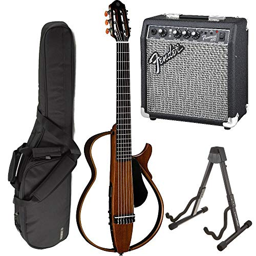 (Yamaha SLG200N Nylon Silent String Acoustic Electric Guitar (Natural) bundled with the Fender Frontman 10G Electric Guitar Amplifier, Gigbag, and Guitar Stand)