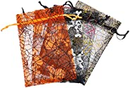 VALICLUD 48pcs Halloween Organza Bags Spider Web Favor Gift Bags with Drawstring Jewelry Gift Bags Candy Mesh