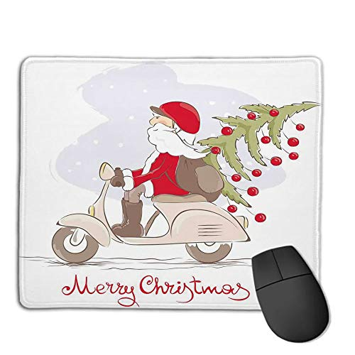 Premium Mouse Pad with Waterproof, Non Slip & Elegant Stitched Edges,Christmas,Vintage Print Santa on Motor Bike with Red Helmet Tree Decorations in Snow,White Gray Red,Consoles More Enjoy Precise