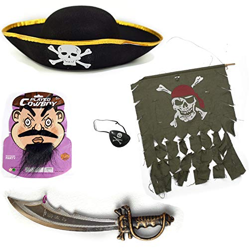 Pirates of The Caribbean Captain Cosplay Halloween Pirate Costume Set Hat, Sword, Mustache, Eyebrow, Patch, Pirate Flag ()