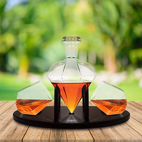 Diamond Whiskey Decanter With 2 Diamond Glasses & Mahogany Wooden Holder – Elegant Handcrafted Crafted Glass Decanter For Liquor, Scotch, Rum, Bourbon, Vodka, Tequila – Great Gift Idea – 750ml by RUGLUSH (Image #5)