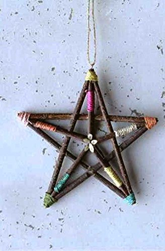 Creative Co-Op Ranch Hand Collection Abaca Wrapped Star Ornament