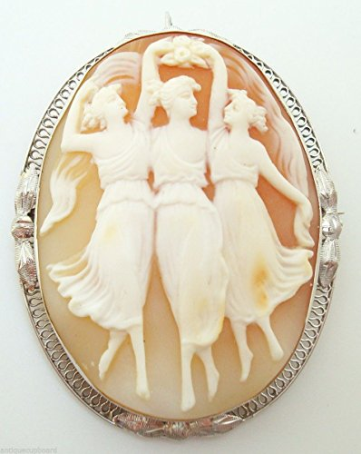Large 14k Gold Filigree Compatible for Genuine Natural Shell Cameo Pin w/Three Graces (#3074)