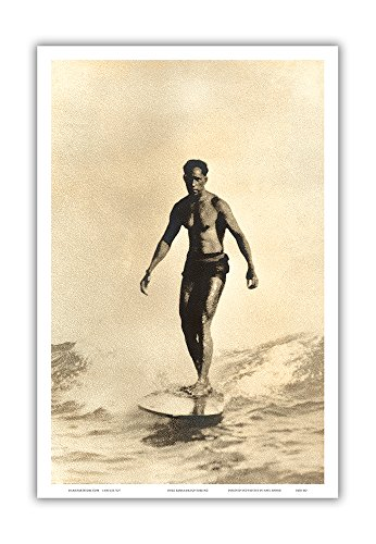 Duke Kahanamoku Surfing - Vintage Sepia Toned Photograph by Frank S. Warren c.1930s -