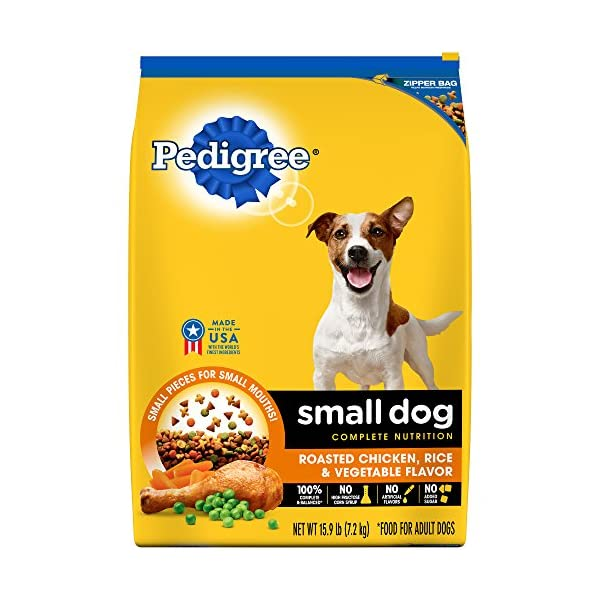 Pedigree Small Dog Complete Nutrition Adult Dry Dog Food Roasted Chicken, Rice & Vegetable Flavor, 15.9 Lb. Bag