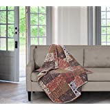 """SLPR Red Riches Printed Quilted Throw Blanket (50"""" x 60"""") 