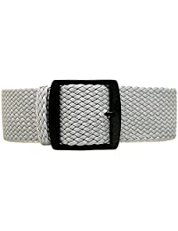 DaLuca Braided Nylon Perlon Watch Strap - Grey (PVD Buckle) : 18mm