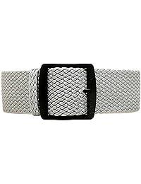 DaLuca Braided Nylon Perlon Watch Strap - Grey (PVD Buckle) : 22mm