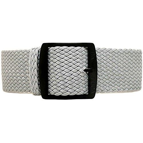 DaLuca Braided Nylon Perlon Watch Strap - Grey (PVD Buckle) : 20mm