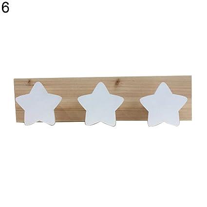Steellwingsf Colgador de madera para pared con diseño de estrella de conejo (3 ganchos), madera, 6#, talla única