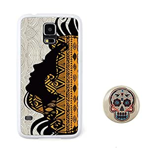 BuddiCase tocado étnico diseño en relieve patrón tribal abstracto colorido estilo TPU + Plástico duro for Samsung Galaxy S5 with diseño del cráneo del caramelo del estilo fresco del color 2.3'' boton pulgadas insignia