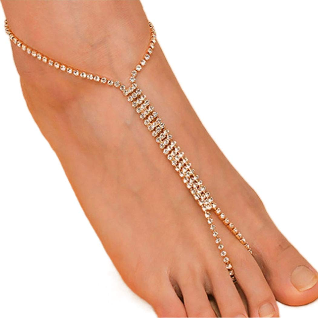 Ursumy Wedding Barefoot Sandals Gold Anklet with Beaded Foot Chain Rhinestone Ankle Bracelet for Women and Girls 2Pcs (Gold)