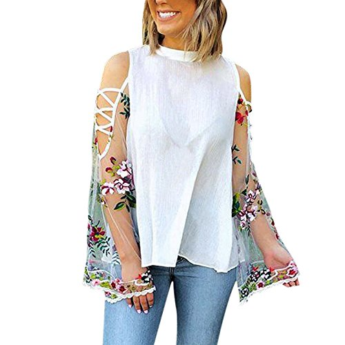 20408094ea7f34 Womens Cut Out Off The Shoulde Lace Floral Tops T-Shirt Summer ...