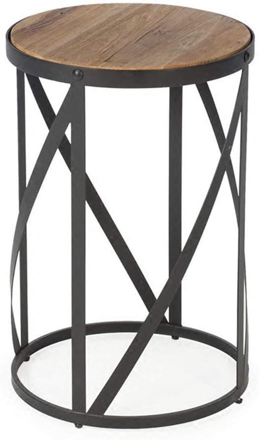YNN ポータブルテーブル ソリッドウッド家庭用リビングルームコーヒーテーブルシンプルなリビングルームソファサイドテーブルアイアンアートラウンド小さなテーブル15.7 `` x23.6 ''