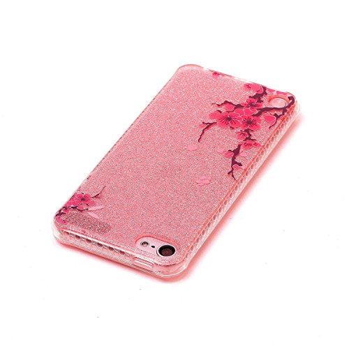 iPod Touch 5 / 6 Funda, Sunroyal Carcasa Silicona TPU Gel para iPod Touch 5 / 6 Semi-Transparente Glitter Ultra Slim Concha Anti-Arañazos Amortiguar los Choques Borrar Espalda Caja del Teléfono Diseño B-10