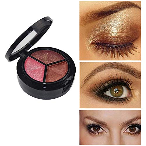 WNTblue 3 Colors Eyeshadow Palette Multi-Reflective Nude Matte Glitters Shimmers Concealer Base Shades Waterproof Long Lasting Eye Shadow Makeup Pallete (A)