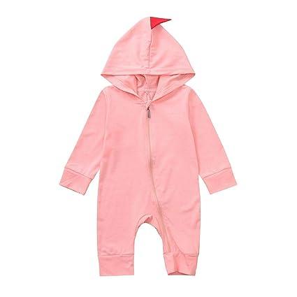 a2b294a3c Amazon.com  Newborn Baby Boys Girls Cartoon Dinosaur Hoodie Romper ...