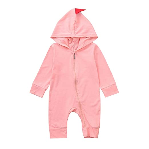 8adb271b0d07 Amazon.com  Fheaven 0-24 Months Newborn Baby Boys Girls Romper Dinosaur  Hooded Romper Zipper Jumpsuit Outfits Clothes (6-12 Months
