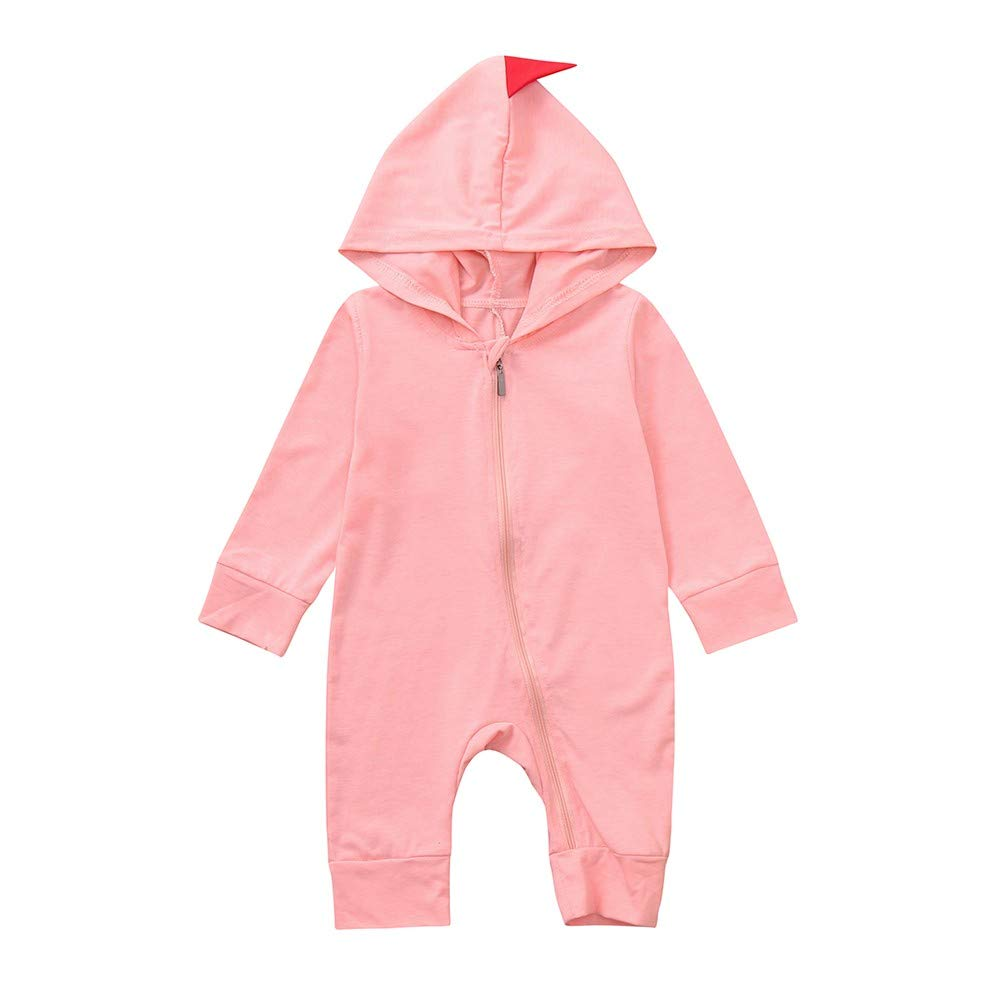 Clothful  , Boys Girls Dinosaur Zipper Hooded Romper Jumpsuit Outfits Clothes (18-24 Months, Pink)