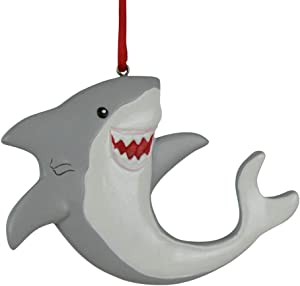 GiftsForYouNow Shark Christmas Ornament, Hand Painted Resin, Happy Shark Ornament for Kids, Includes Satin Ribbon