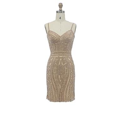 Venus Bridal Womens Short Beded Tulle Prom Dress Gold Spaghetti Straps Sheath Evening Dress