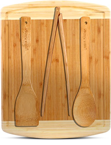 """51Urhg%2BtgSL - Utopia Kitchen Natural Bamboo Gift Set with 3-Piece Wooden Utensils and a 14.5"""" x 11.5"""" Bamboo Cutting Board"""