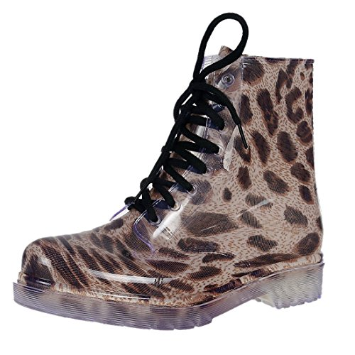 Laessige Martens 8 Eye Schnuerschuhe Regen Stiefel Schuhe der NEUEN Frauen -Assorted Farben Grosse Leopard